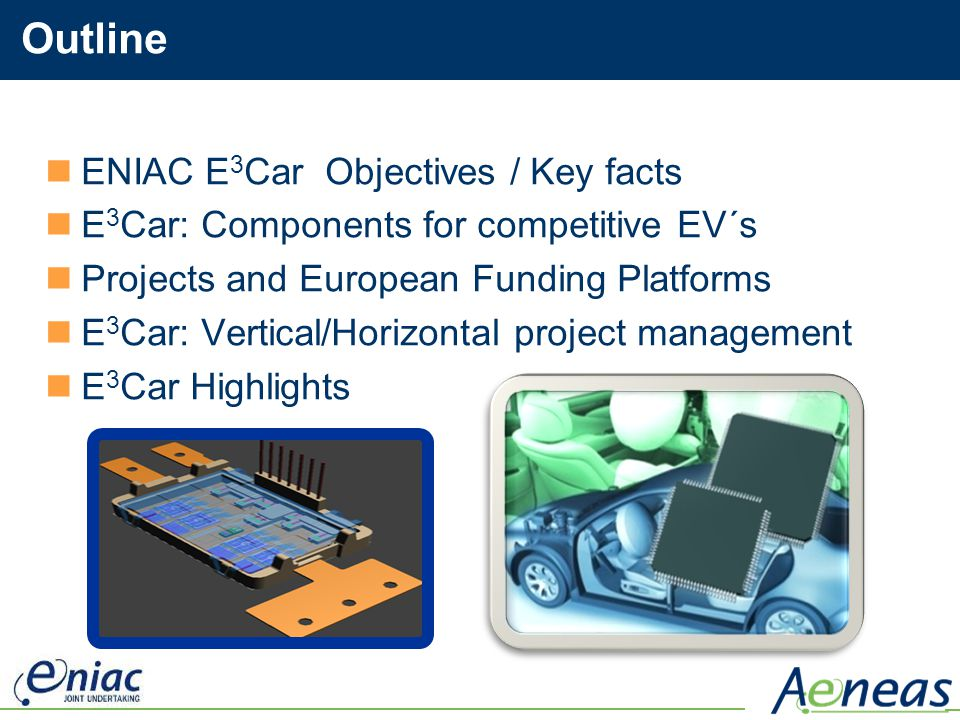 Outline ENIAC E3Car Objectives / Key facts