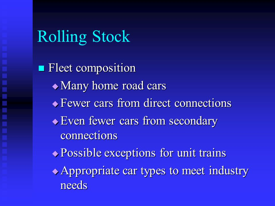 Rolling Stock Fleet composition Many home road cars