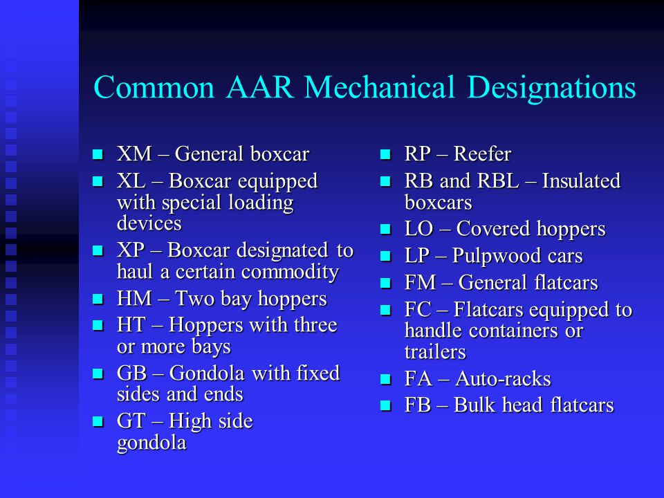 Common AAR Mechanical Designations