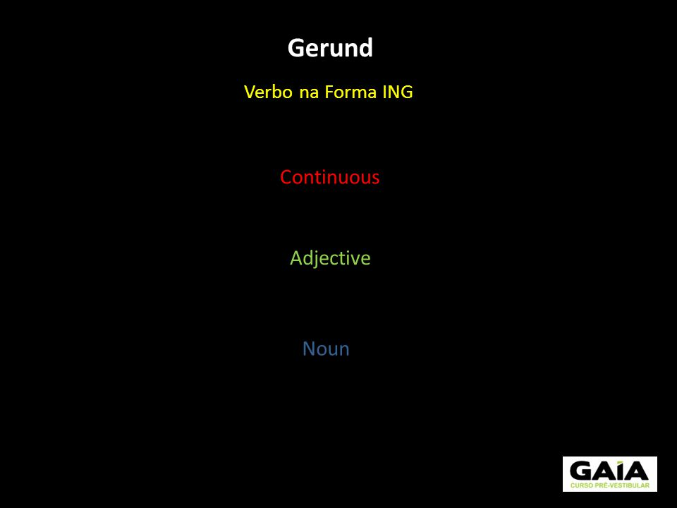 Gerund Verbo na Forma ING Continuous Adjective Noun