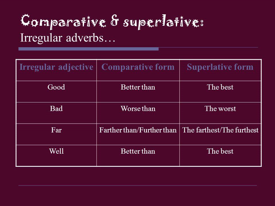 Comparative & superlative: Irregular adverbs…