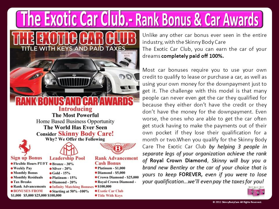 The Exotic Car Club.- Rank Bonus & Car Awards