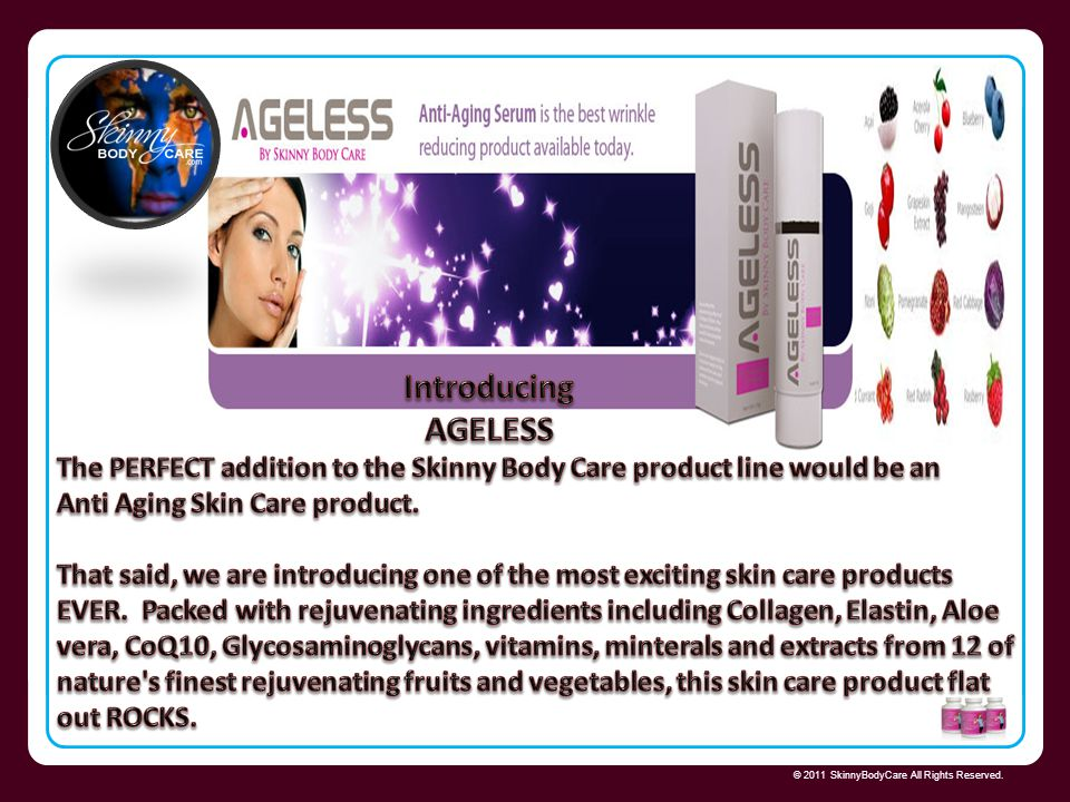 Introducing AGELESS Skinny Body Care 