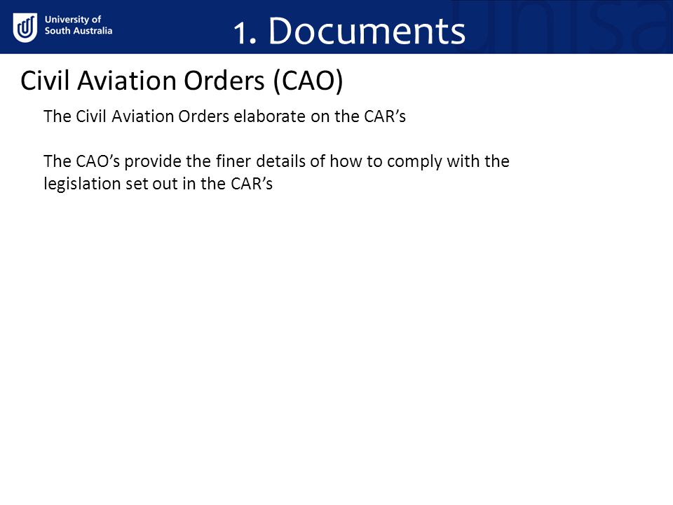 1. Documents Civil Aviation Orders (CAO)