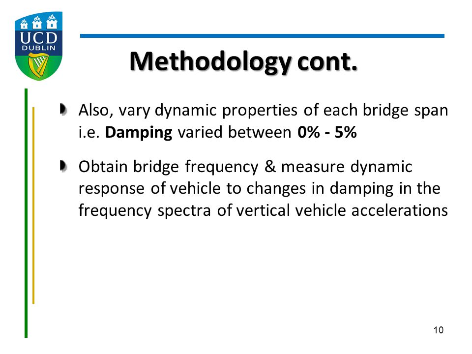 Methodology cont. Also, vary dynamic properties of each bridge span i.e. Damping varied between 0% - 5%