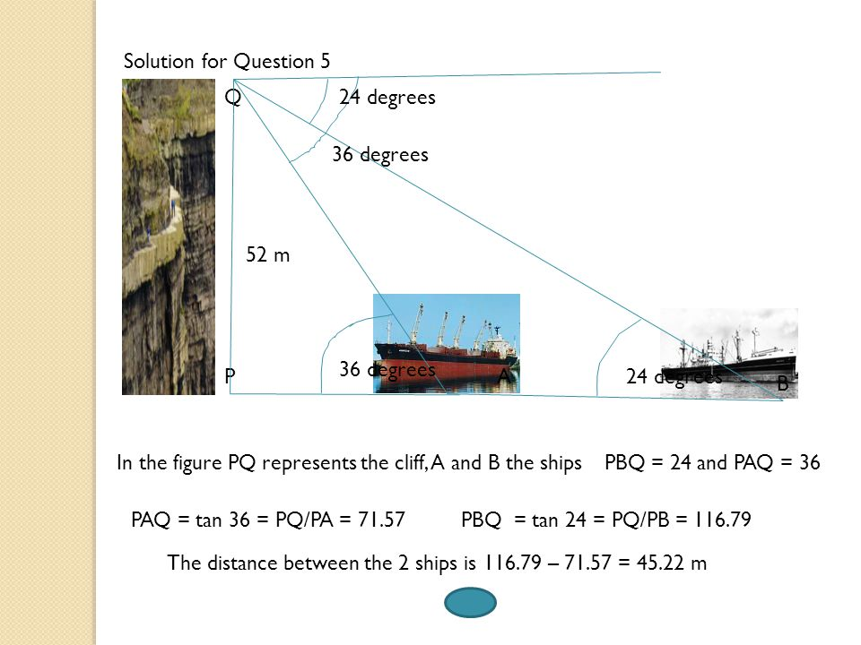 Solution for Question 5 Q. 24 degrees. 36 degrees. 52 m. 36 degrees. P. A. 24 degrees. B.