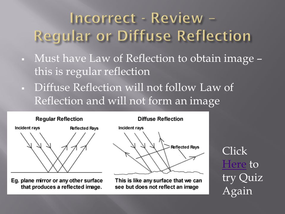 Incorrect - Review – Regular or Diffuse Reflection