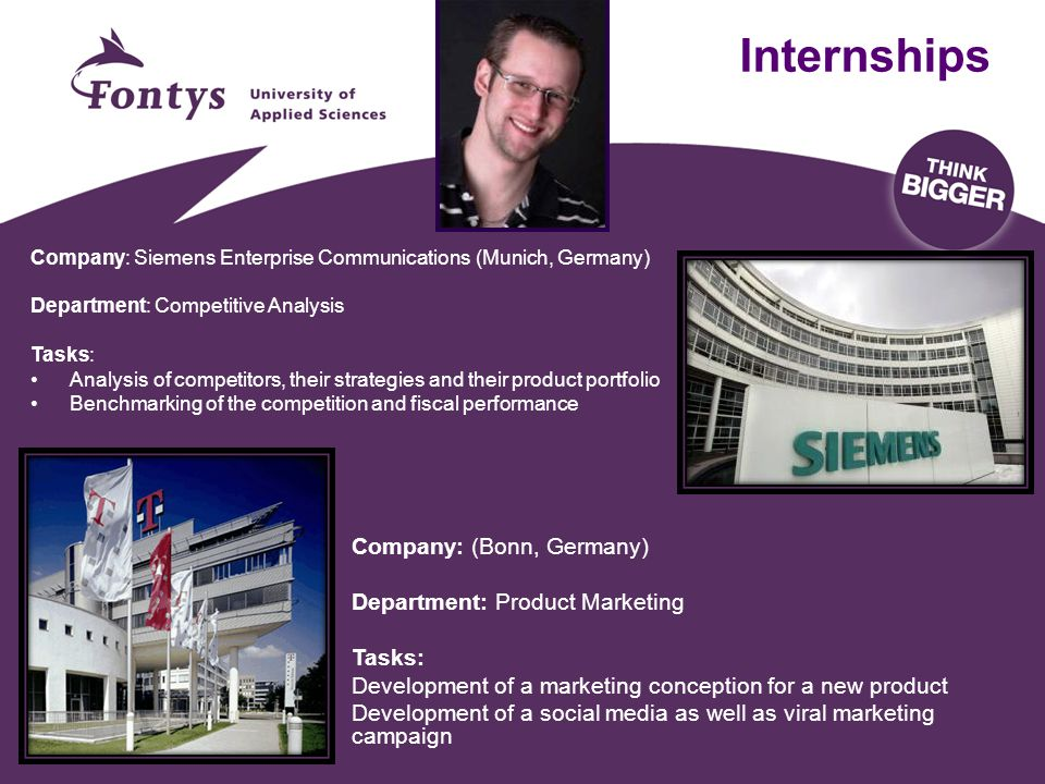 Internships Company: (Bonn, Germany) Department: Product Marketing