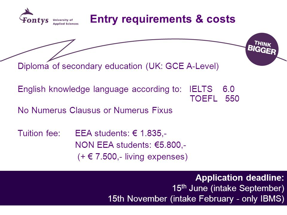Entry requirements & costs