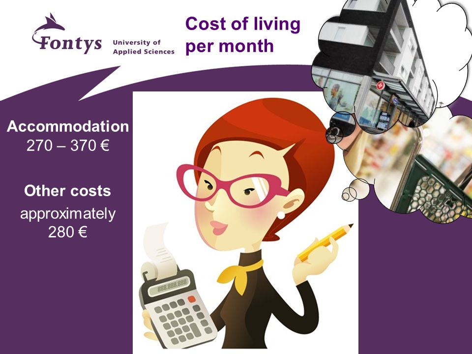 Cost of living per month