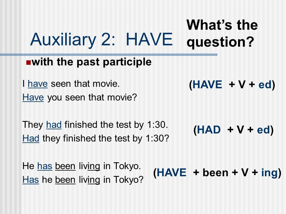 Auxiliary 2: HAVE What's the question with the past participle