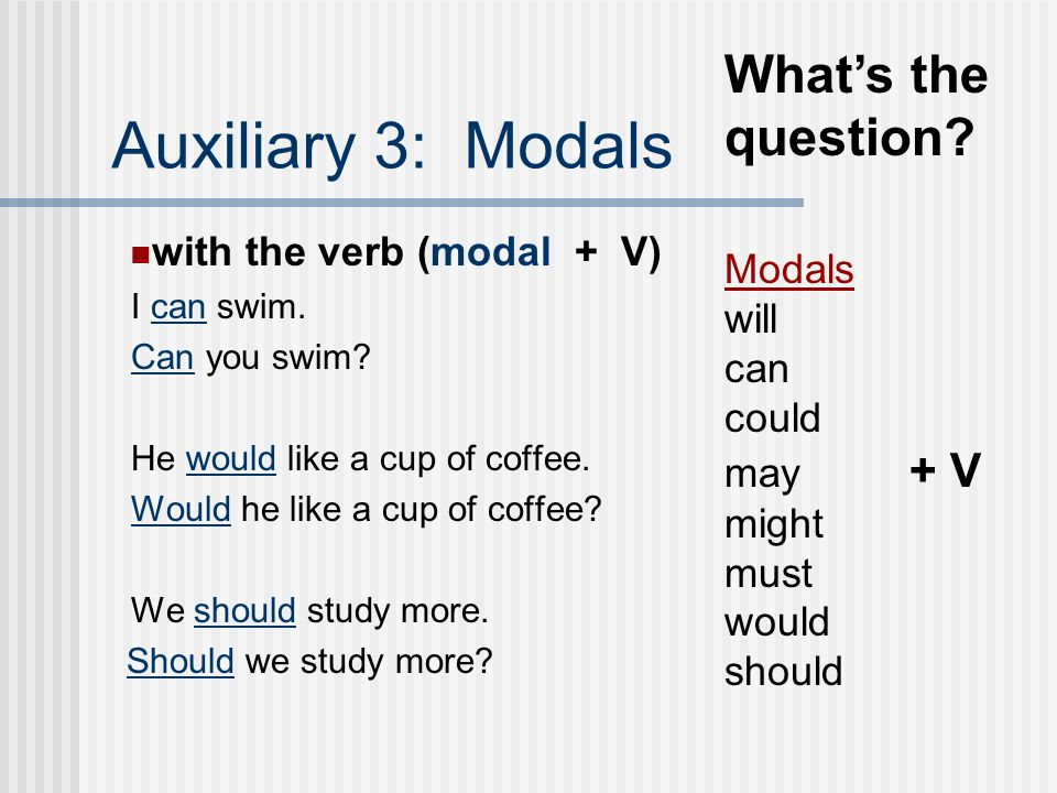 Auxiliary 3: Modals What's the question with the verb (modal + V)