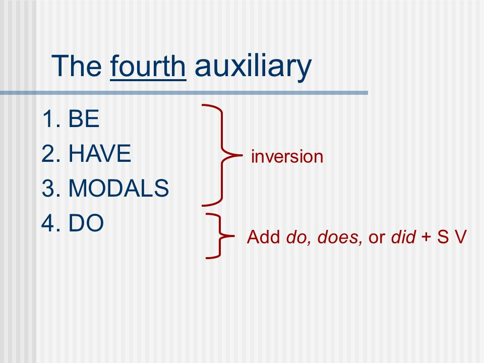 The fourth auxiliary 1. BE 2. HAVE 3. MODALS 4. DO inversion