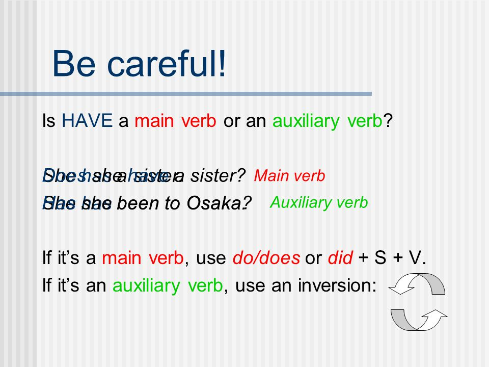 Be careful! Is HAVE a main verb or an auxiliary verb