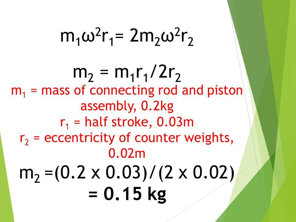 m1ω2r1= 2m2ω2r2 m2 = m1r1/2r2 m2 =(0.2 x 0.03)/(2 x 0.02) = 0.15 kg
