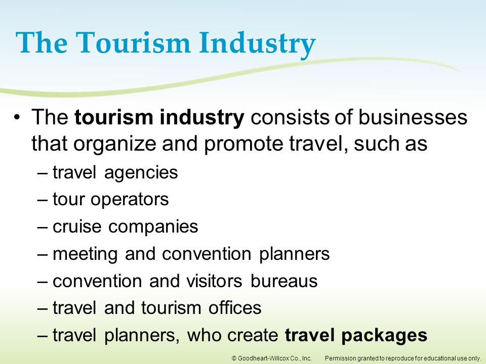 The Tourism Industry The tourism industry consists of businesses that organize and promote travel, such as.
