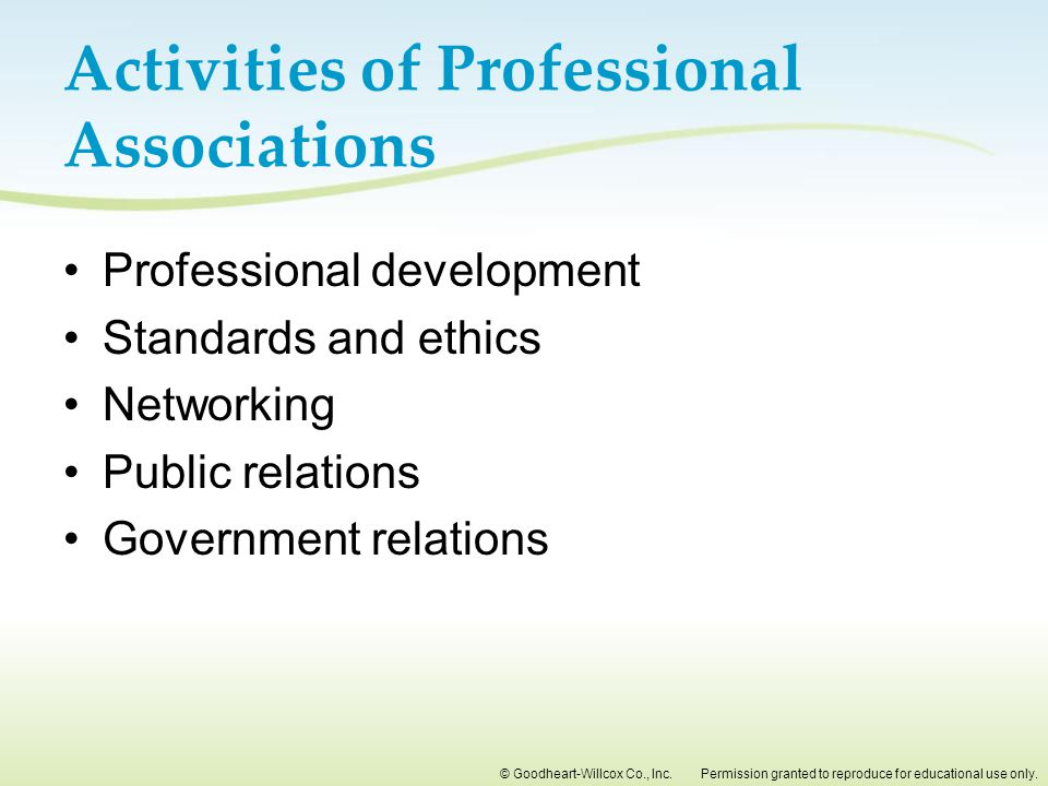 Activities of Professional Associations