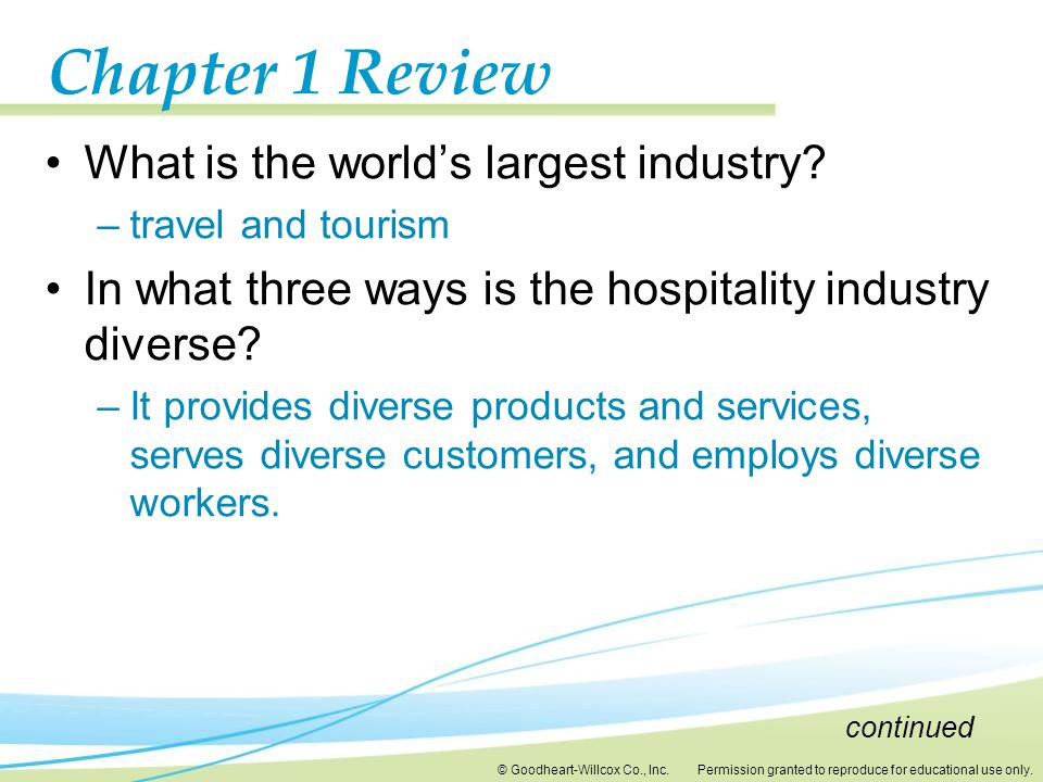 Chapter 1 Review What is the world's largest industry