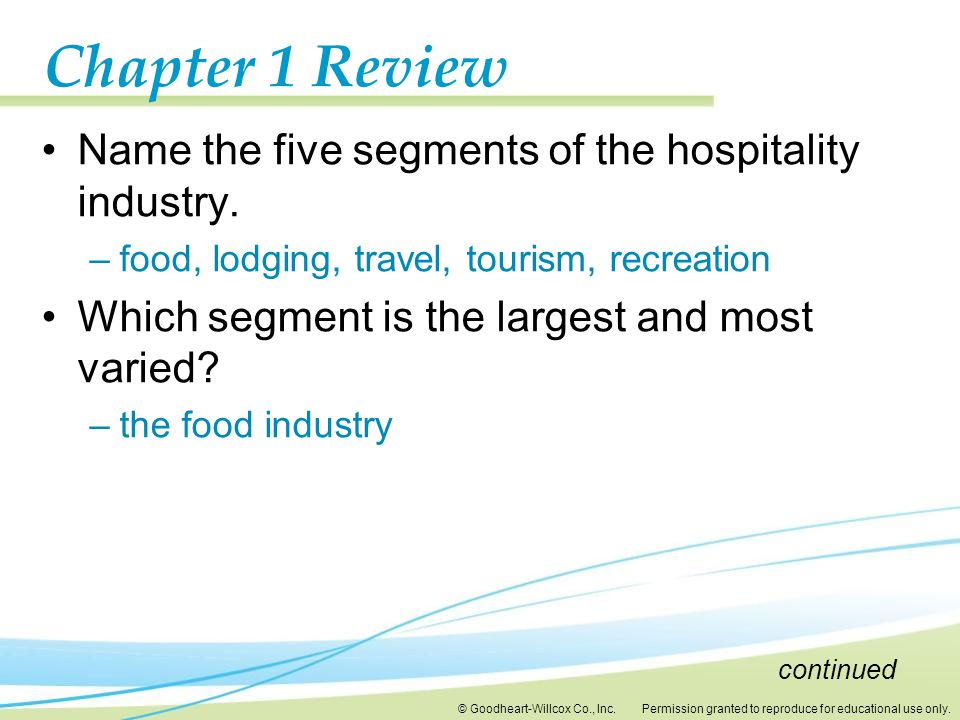 Chapter 1 Review Name the five segments of the hospitality industry.