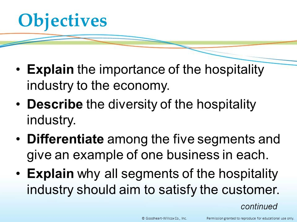 Objectives Explain the importance of the hospitality industry to the economy. Describe the diversity of the hospitality industry.