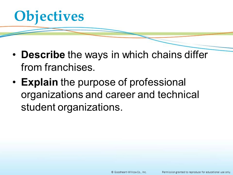 Objectives Describe the ways in which chains differ from franchises.
