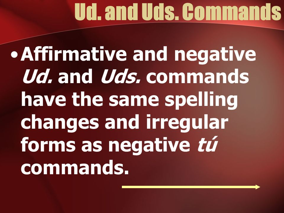 Ud. and Uds. Commands Affirmative and negative Ud.