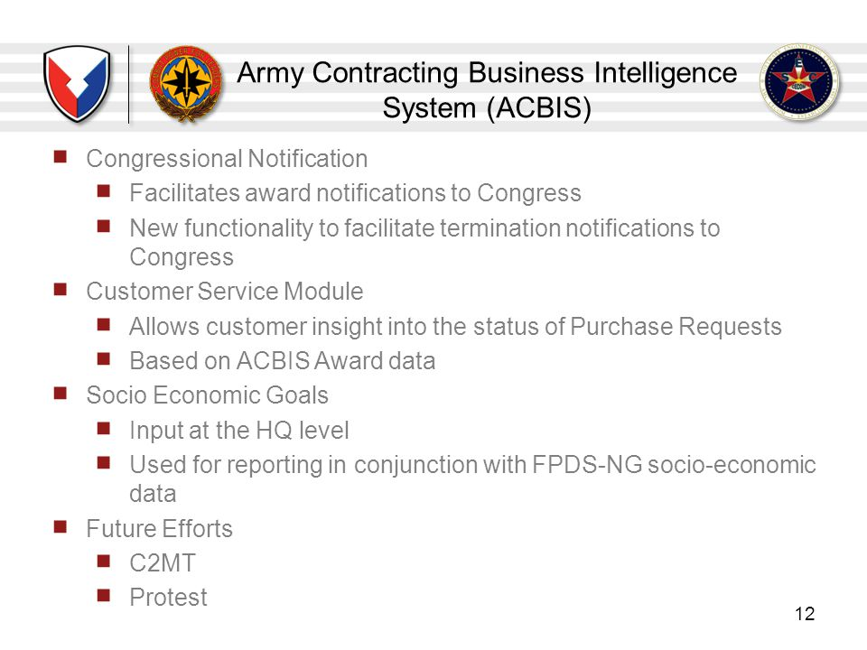 Army Contracting Business Intelligence System (ACBIS)