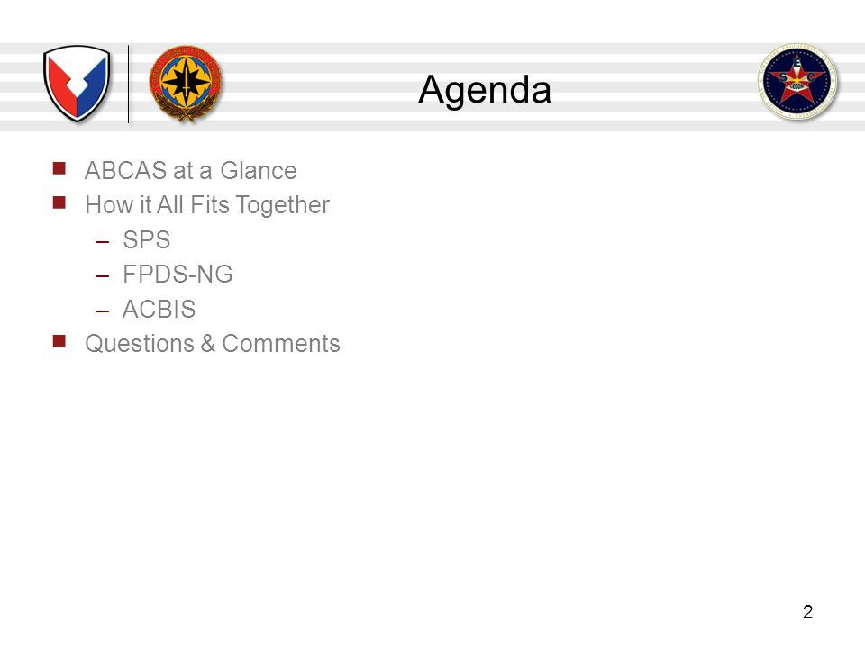 Agenda ABCAS at a Glance How it All Fits Together SPS FPDS-NG ACBIS