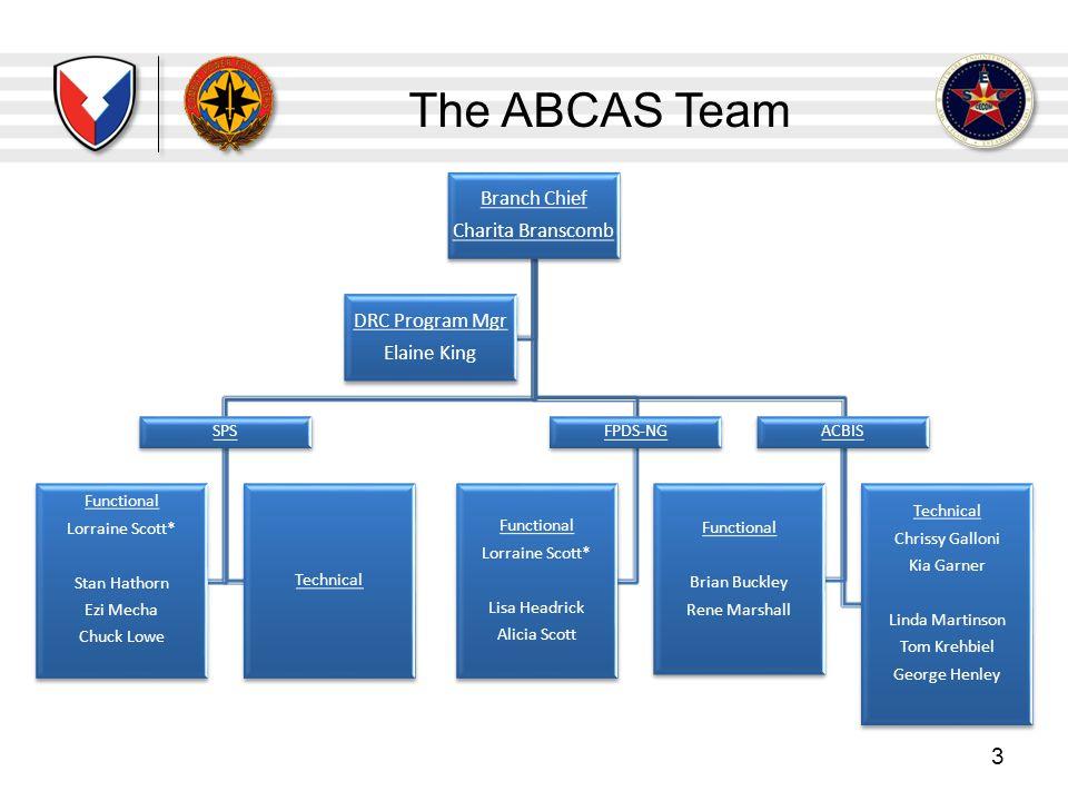 The ABCAS Team Branch Chief Charita Branscomb DRC Program Mgr