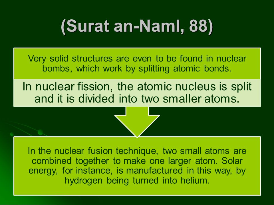 (Surat an-Naml, 88) Very solid structures are even to be found in nuclear bombs, which work by splitting atomic bonds.