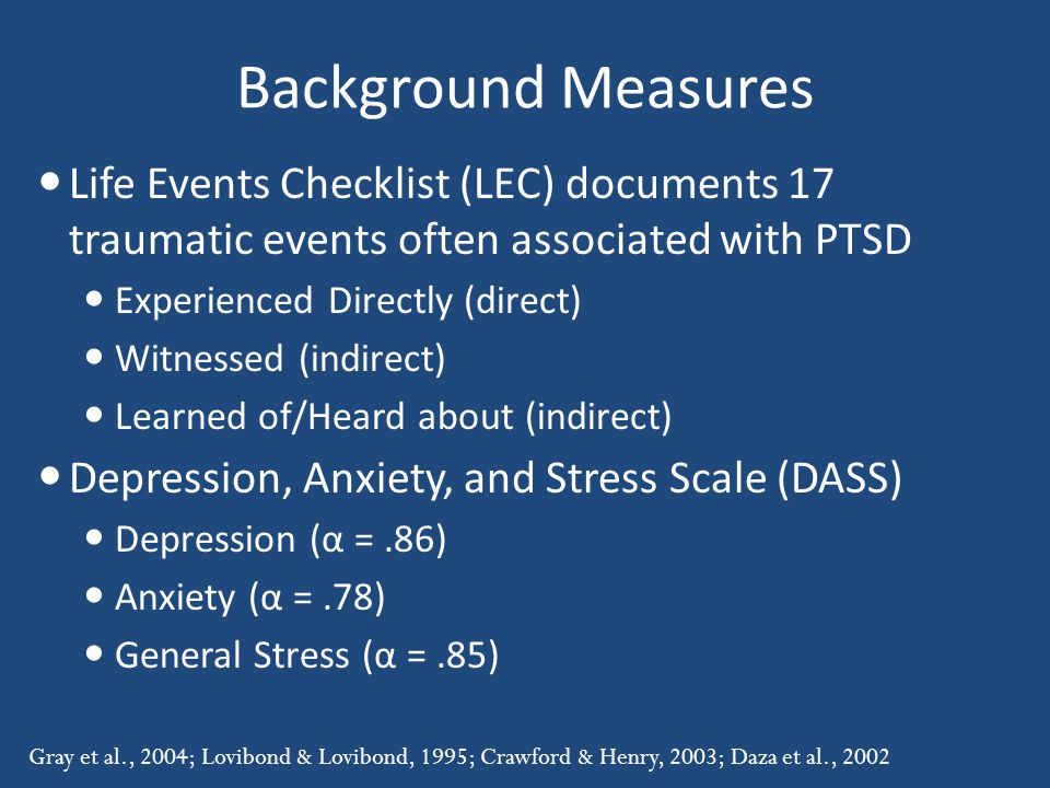 Background Measures Life Events Checklist (LEC) documents 17 traumatic events often associated with PTSD.