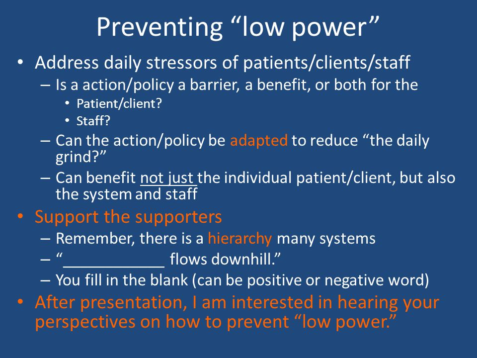 Preventing low power
