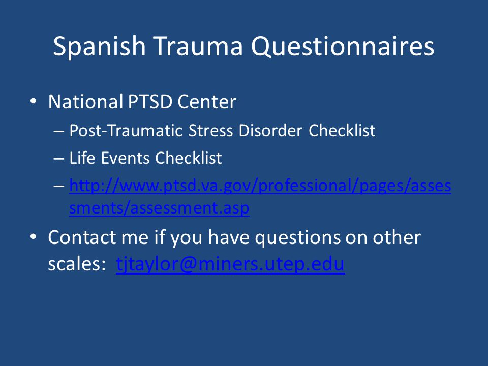Spanish Trauma Questionnaires