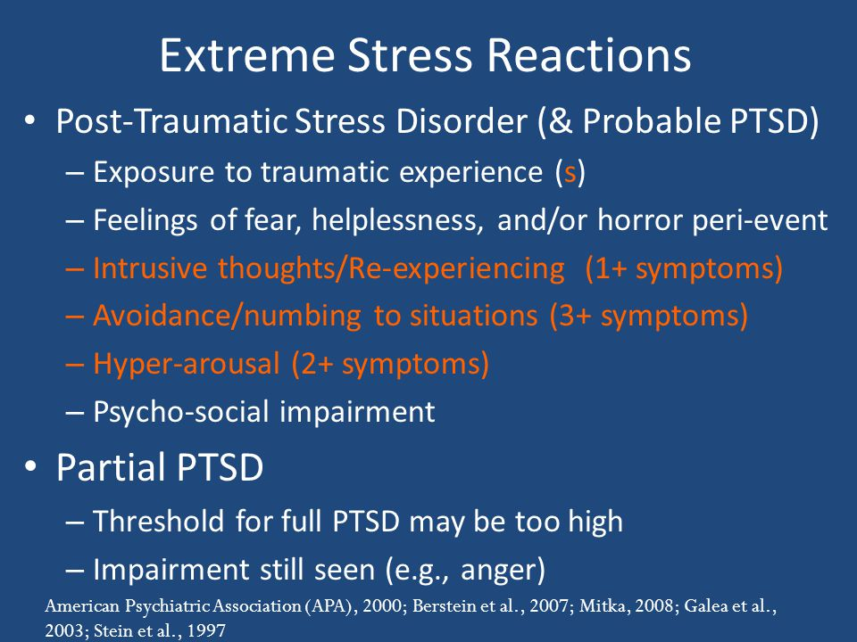 Extreme Stress Reactions