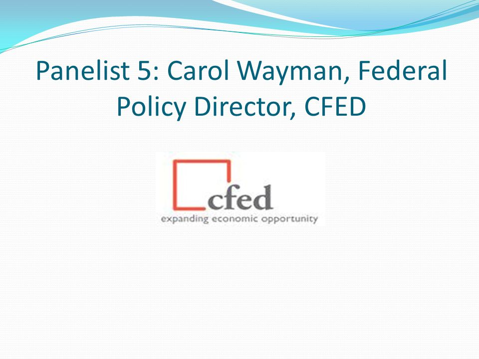 Panelist 5: Carol Wayman, Federal Policy Director, CFED
