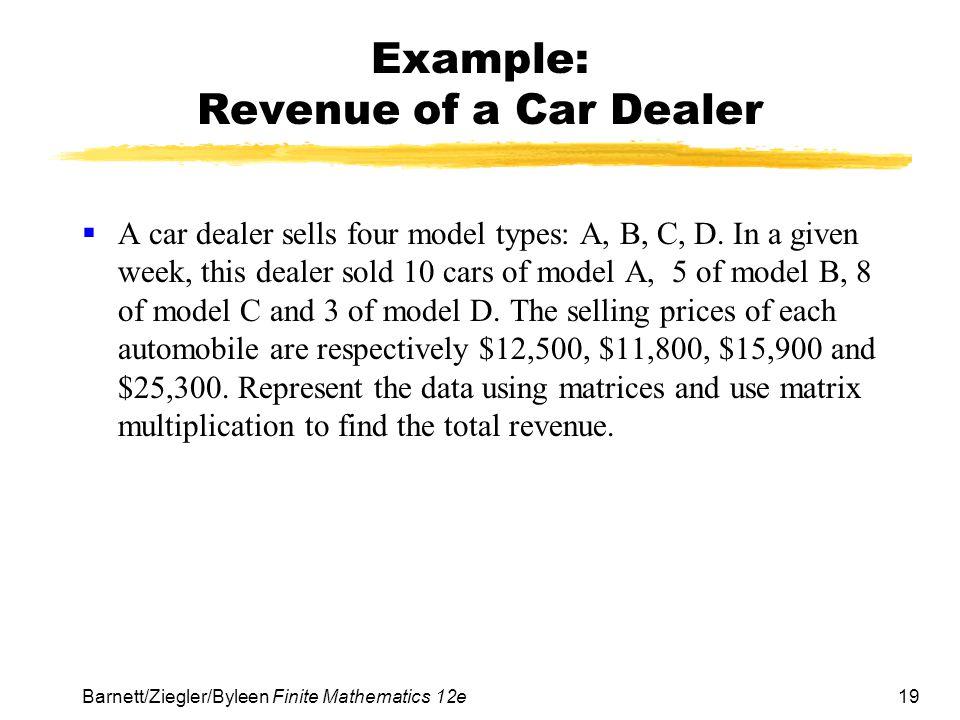 Example: Revenue of a Car Dealer