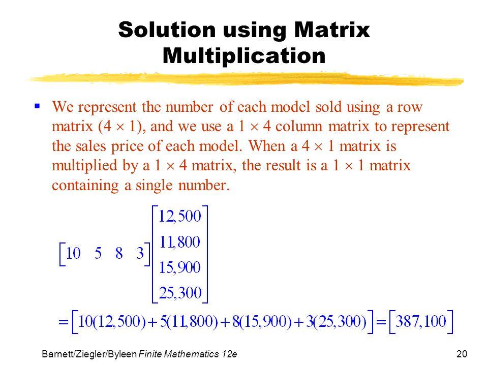 Solution using Matrix Multiplication