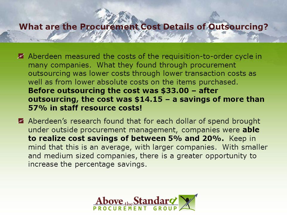 What are the Procurement Cost Details of Outsourcing