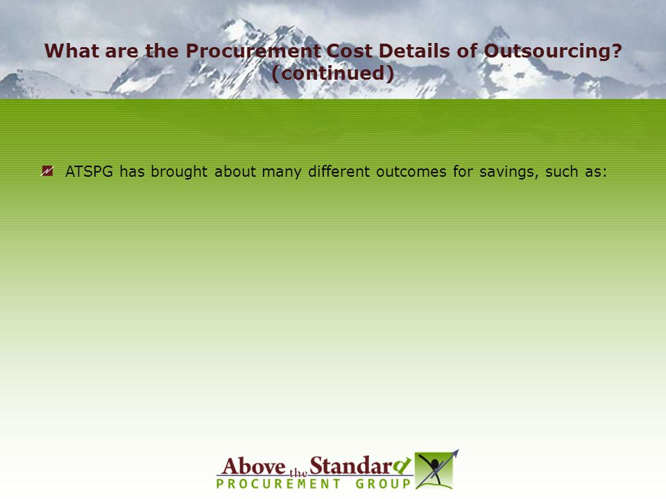 What are the Procurement Cost Details of Outsourcing (continued)