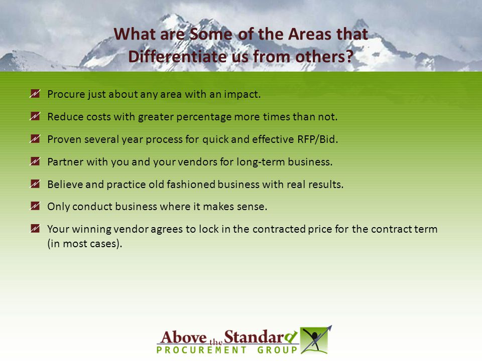What are Some of the Areas that Differentiate us from others