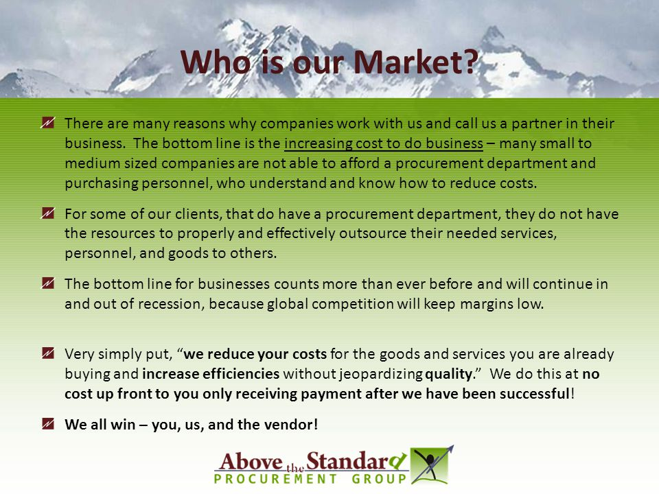 Who is our Market