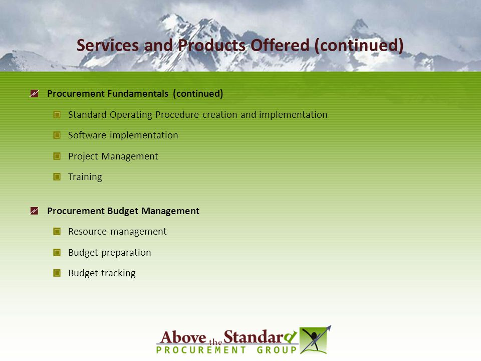 Services and Products Offered (continued)