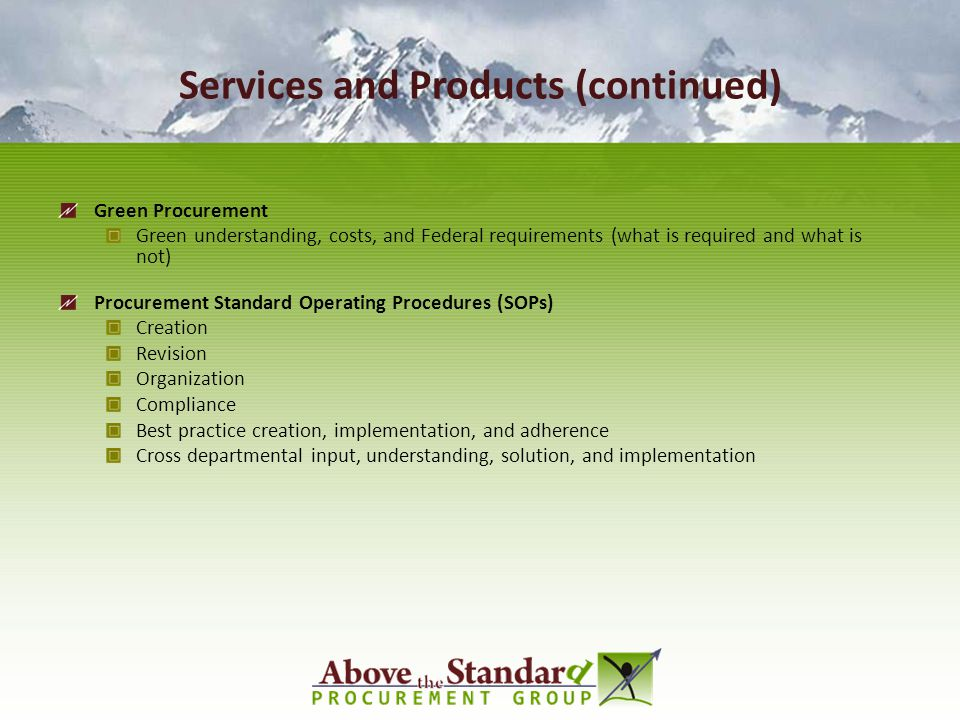 Services and Products (continued)