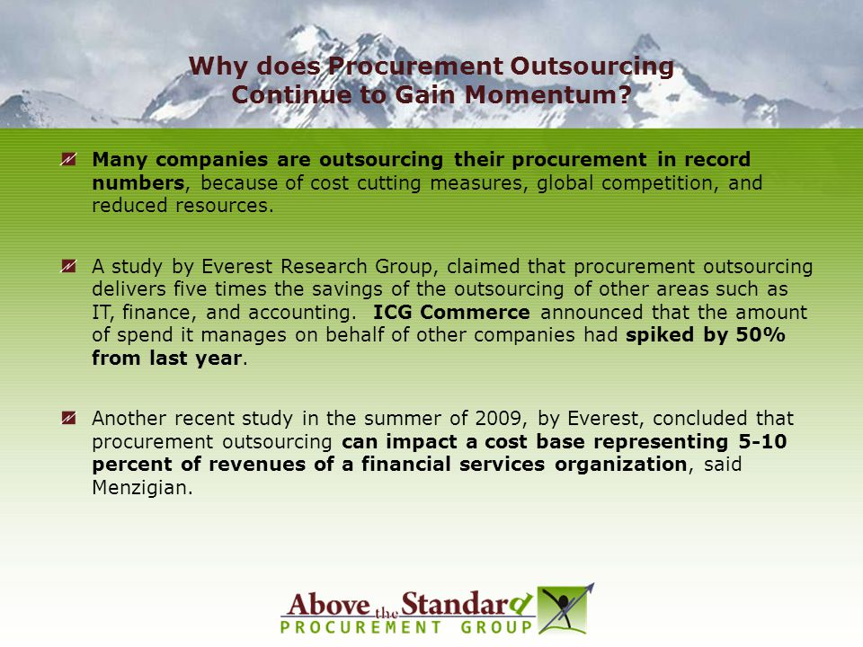 Why does Procurement Outsourcing Continue to Gain Momentum