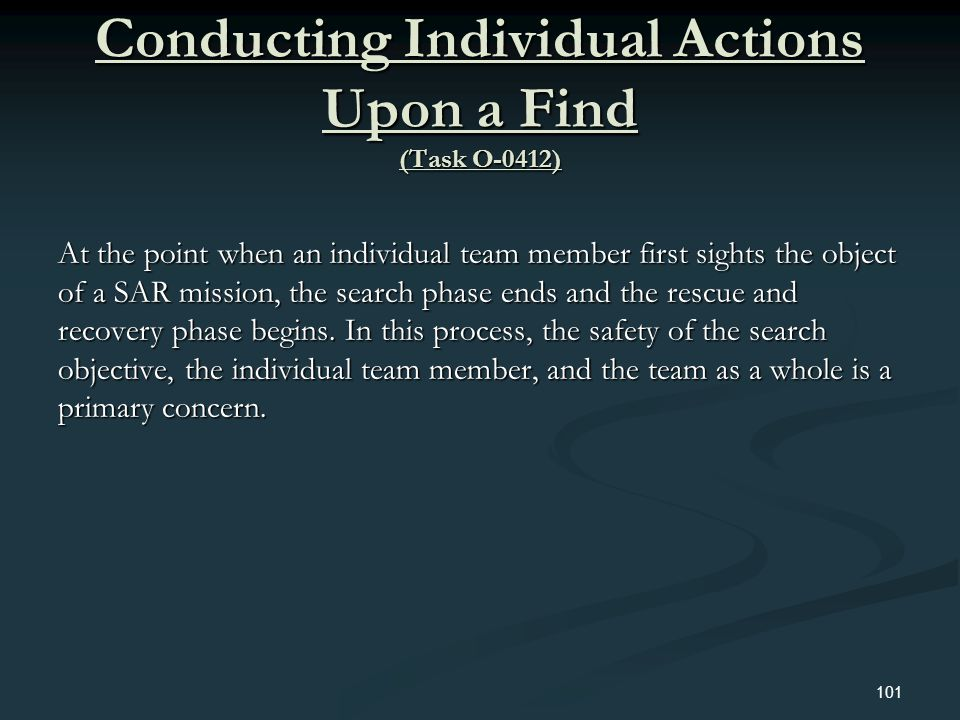 Conducting Individual Actions Upon a Find (Task O-0412)