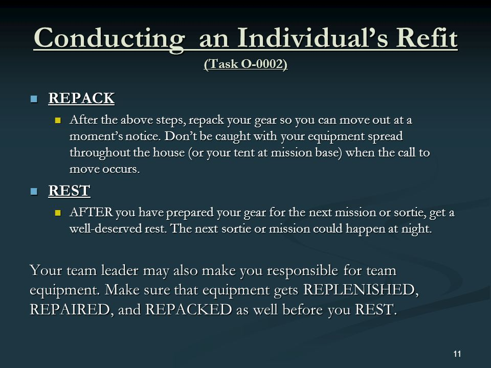 Conducting an Individual's Refit (Task O-0002)