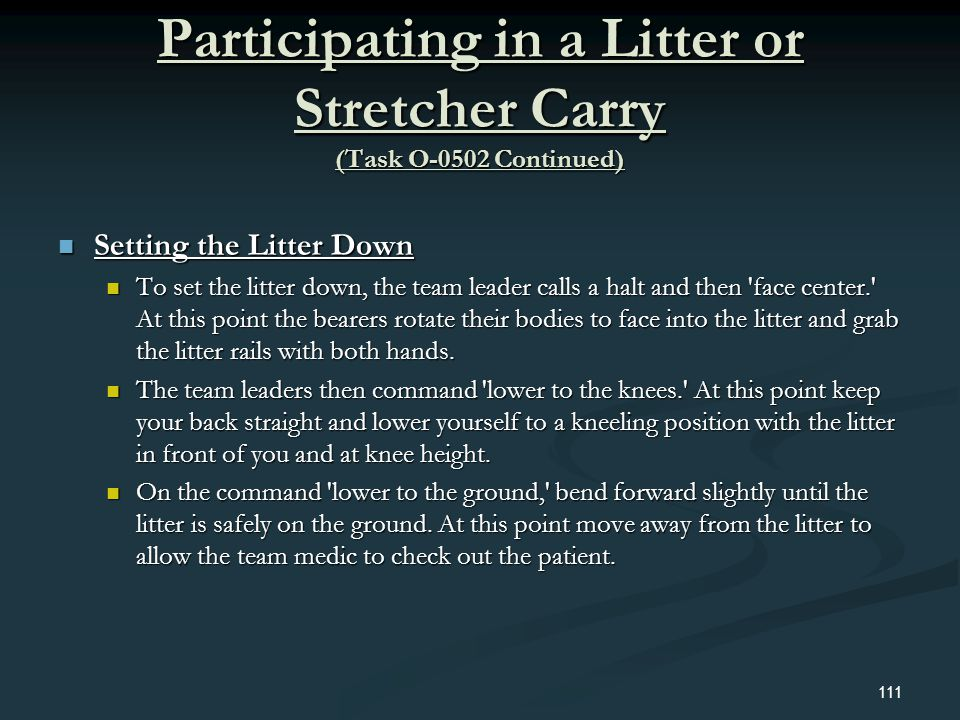 Participating in a Litter or Stretcher Carry (Task O-0502 Continued)