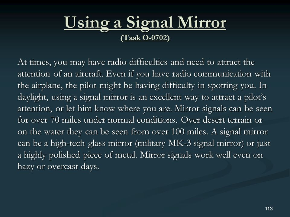 Using a Signal Mirror (Task O-0702)