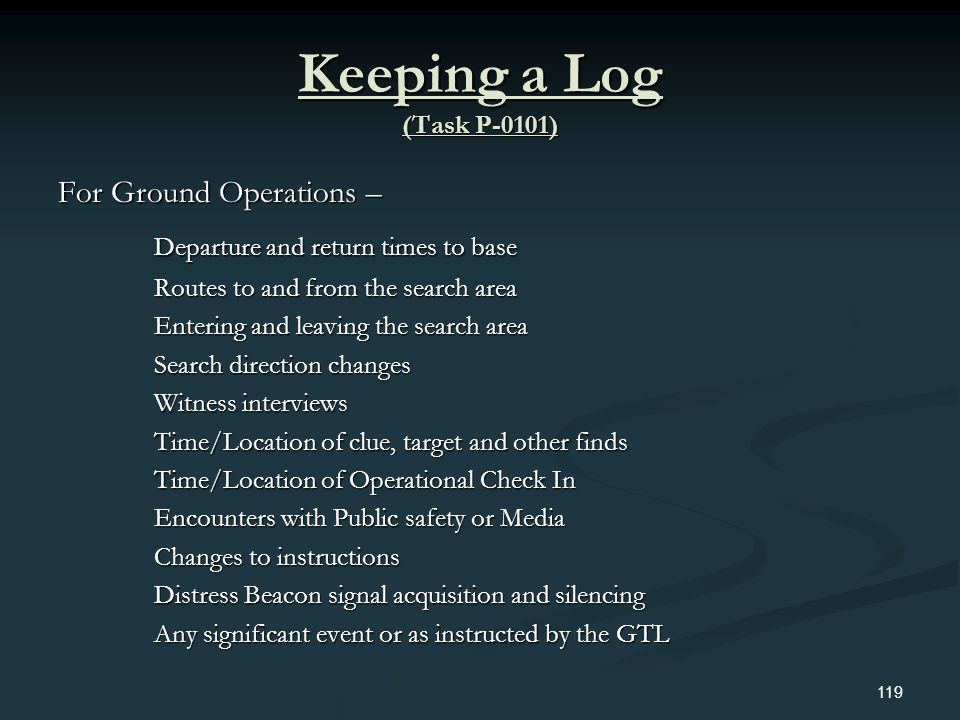 Keeping a Log (Task P-0101) Departure and return times to base