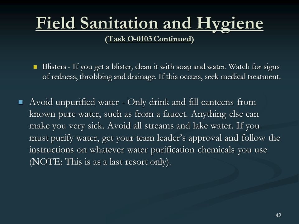 Field Sanitation and Hygiene (Task O-0103 Continued)